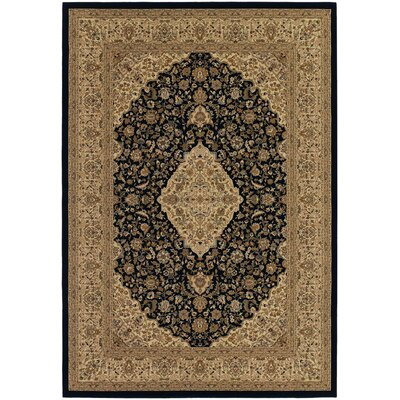 Belcourt All Over Heriz Black/Brown Area Rug Rug Size: 92 x 126