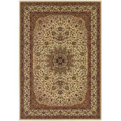 Belcourt Royal Kashan Ivory/Brown Area Rug Rug Size: 53 x 76