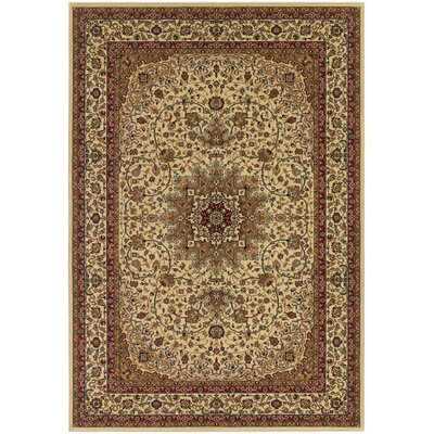 Belcourt Royal Kashan Ivory/Brown Area Rug Rug Size: 92 x 126