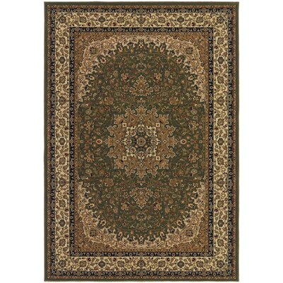 Belcourt Royal Kashan Green/Brown Area Rug Rug Size: 92 x 126