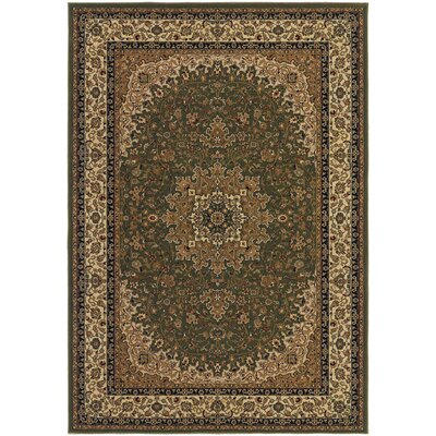 Belcourt Royal Kashan Green/Brown Area Rug Rug Size: Rectangle 53 x 76