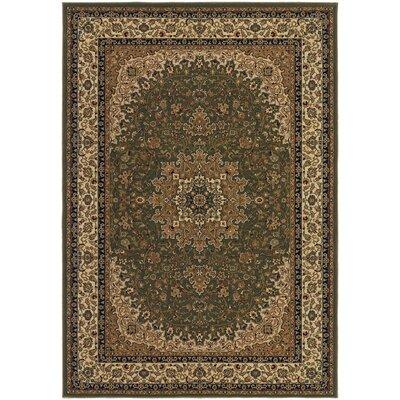 Belcourt Royal Kashan Green/Brown Area Rug Rug Size: 53 x 76