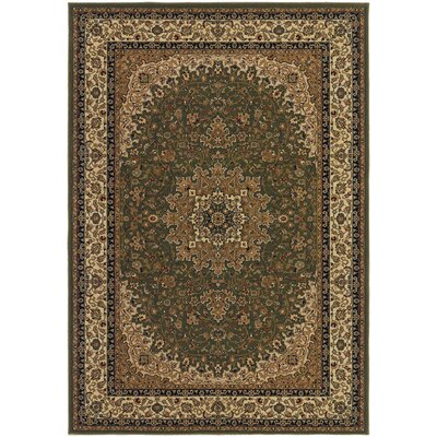 Belcourt Royal Kashan Green/Brown Area Rug Rug Size: Rectangle 710 x 112