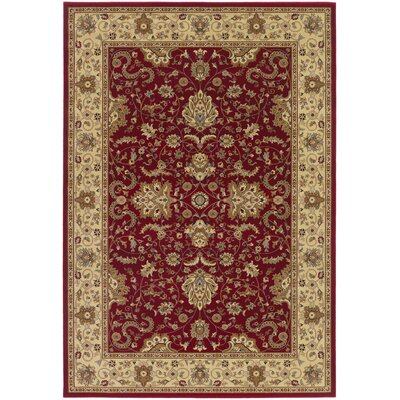 Belcourt Floral Red Area Rug Rug Size: Rectangle 53 x 76