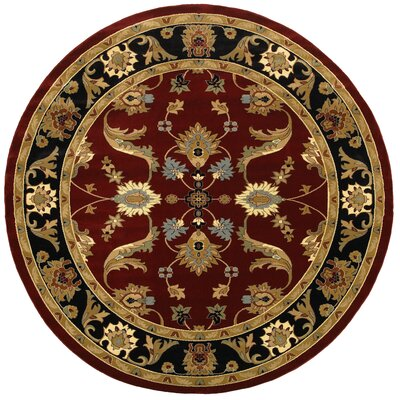 Carrie Persian Red/Black Area Rug Rug Size: Round 9