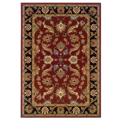 Carrie Persian Red/Black Area Rug Rug Size: 92 x 126