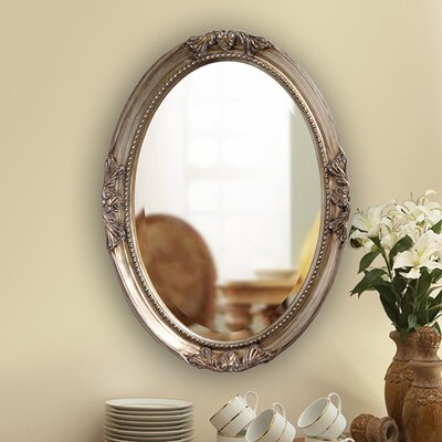 Oval White Wood Wall Mirror Finish: Antique Silver