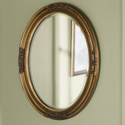 Oval White Wood Wall Mirror Finish: Gold