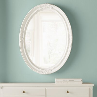 Oval White Wood Wall Mirror Finish: Glossy White