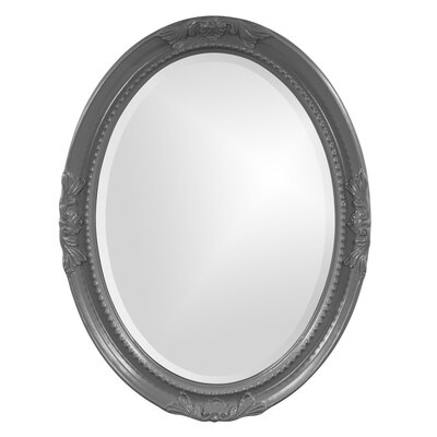 Oval White Wood Wall Mirror Finish: Charcoal Gray