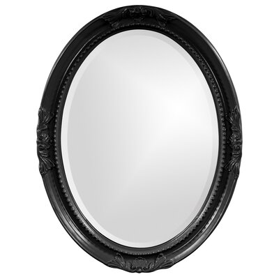 Oval White Wood Wall Mirror Finish: Glossy Black
