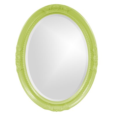 Oval White Wood Wall Mirror Finish: Green