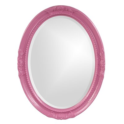 Oval White Wood Wall Mirror Finish: Hot Pink