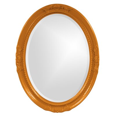 Oval White Wood Wall Mirror Finish: Orange