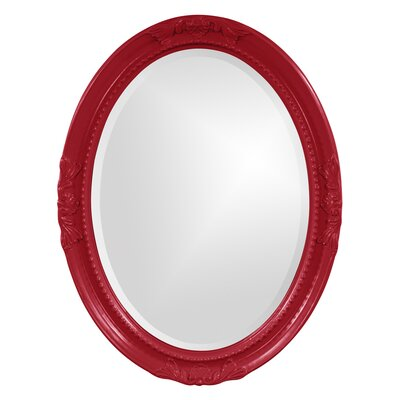 Oval White Wood Wall Mirror Finish: Red