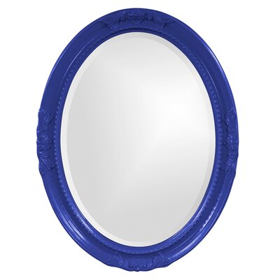 Oval White Wood Wall Mirror Finish: Royal Blue