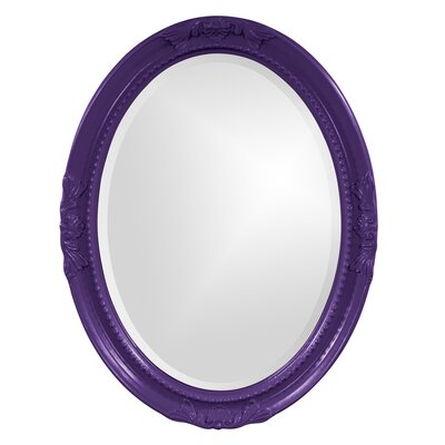 Oval White Wood Wall Mirror Finish: Royal Purple