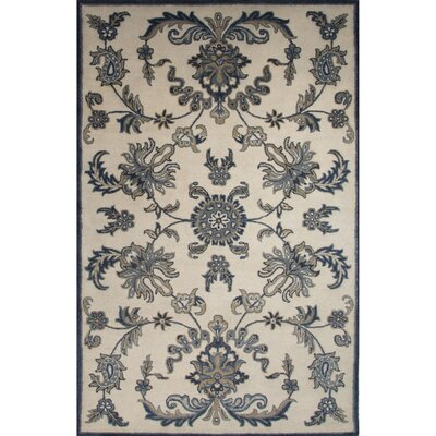 Algillo Wool Hand Tufted Cloud Cream/Blue Area Rug Rug Size: 2 x 3