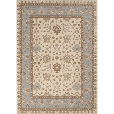 Algo Wool Machine Made Ivory/Blue Area Rug Rug Size: 53 x 76