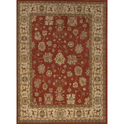 Algo Wool Red/Tan Machine Made Area Rug Rug Size: 710 x 910