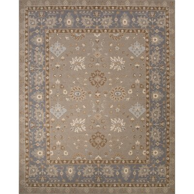 Algo Wool Machine Made Taupe/Blue Area Rug Rug Size: 710 x 910