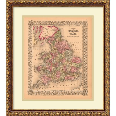 'County Map of England and Wales, 1867' Framed Photographic Print
