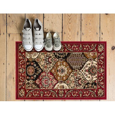 Panel Red Area Rug Rug Size: 53 x 73