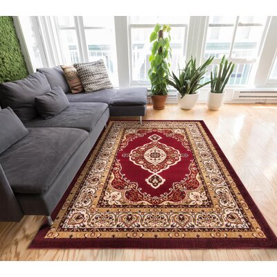 Lara Medallion Yellow Area Rug Rug Size: 710 x 910