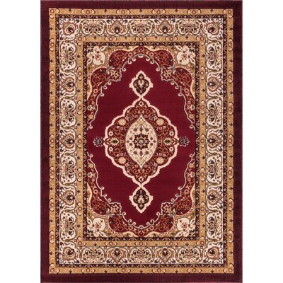 Lara Red Area Rug Rug Size: 93 x 126