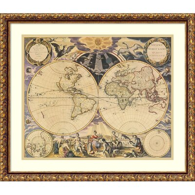 New World Map, 1676 Framed Wall Art