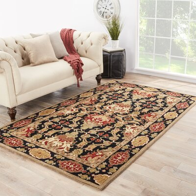 Golders Black/Red Rug Rug Size: Rectangle 36 x 56