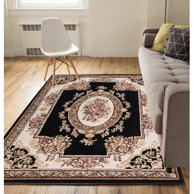 Coggrey Medallion Centre Black Area Rug Rug Size: 53 x 73