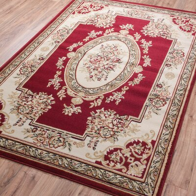 Coggrey Medallion Centre Red Area Rug Rug Size: Runner 18 x 72