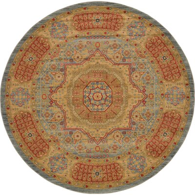 Laurelwood Red/Beige Area Rug Rug Size: Round 8