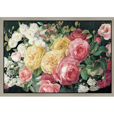 'Antique Roses on Black' Framed Oil Painting Print on Wrapped Canvas Size: 12