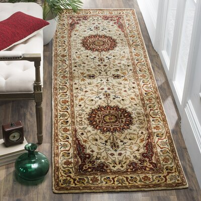 Bermondsey Ivory/Red Area Rug Rug Size: Runner 26 x 8