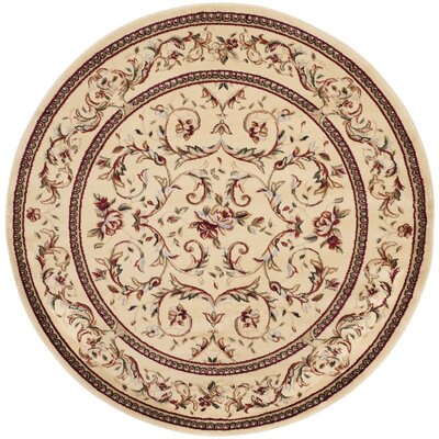 Taufner Ivory Area Rug Rug Size: Round 5