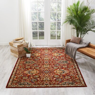 Charleson Red Area Rug Rug Size: Rectangle 79 x 99