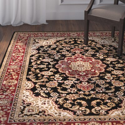 Belliere Medallion Black Area Rug Rug Size: 53 x 73