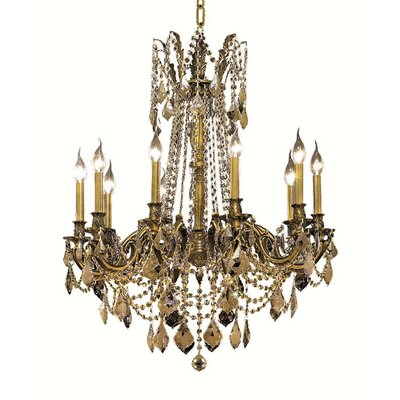 Utica 10-Light Crystal Chandelier Color / Crystal Color / Crystal Trim: Antique Bronze / Golden Teak (Smoky) / Royal Cut
