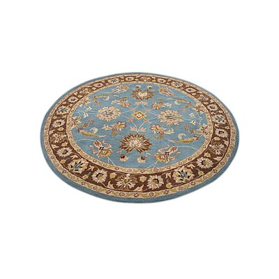 Mazzariello Vintage Hand-Tufted Wool Blue/Brown Area Rug Rug Size: Round 6