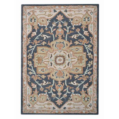 Adams Vintage Hand-Tufted Wool Charcoal/Beige Area Rug Rug Size: 5 x 8