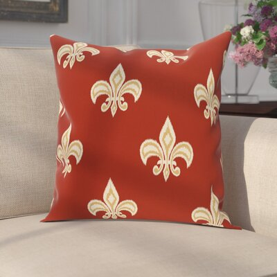 Carnbrock Fleur de Lis Ikat Print Throw Pillow Size: 16 H x 16 W, Color: Rust