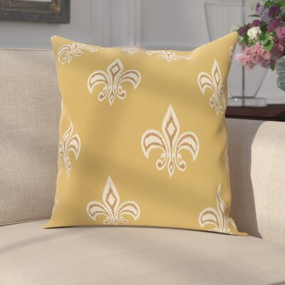 Carnbrock Fleur de Lis Ikat Print Throw Pillow Size: 16 H x 16 W, Color: Gold