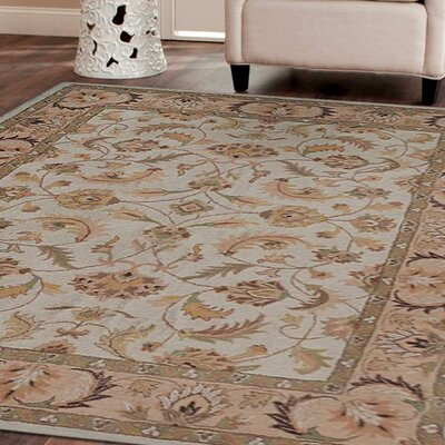 Cloughmills Vintage Hand-Tufted Wool Beige/Ivory Area Rug Rug Size: 9 x 12