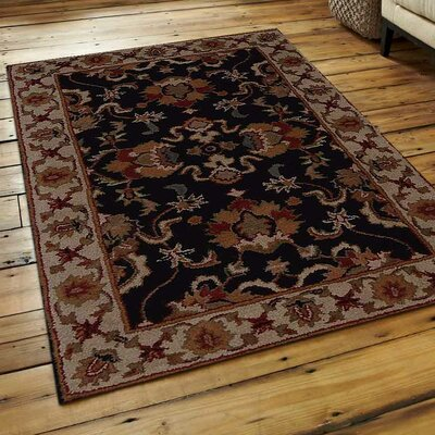 Copper Vintage Hand-Tufted Wool Black/White Area Rug Rug Size: Rectangle 8 x 11