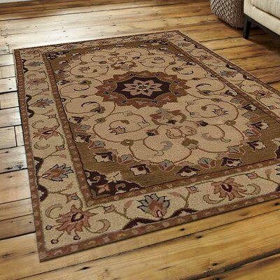 Aaron Vintage Hand-Tufted Wool Cream/Brown Area Rug Rug Size: 9 x 12