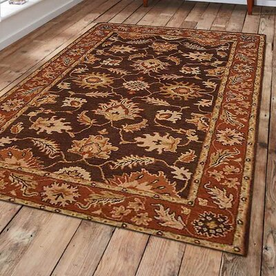 Adamsburg Vintage Hand-Tufted Wool Brown/Rust Area Rug Rug Size: 3 x 5