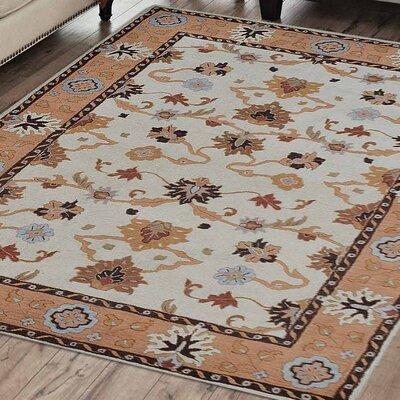 Adamsville Vintage Hand-Tufted Wool Cream/Brown Area Rug Rug Size: 9 x 12