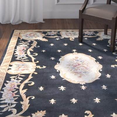Totternhoe Black FleurdeLis Aubusson Area Rug Rug Size: 33 x 53